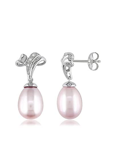 Michiko Diamond & 9.5-10mm Pink Freshwater Pearl Silver Earrings
