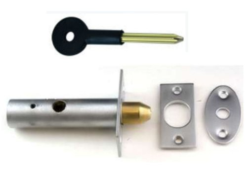 Satin Chrome Door Security Rack Bolt 60mm Complete with Star Key