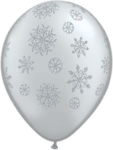 "11"" Glitter Snowflakes Latex Balloons Bag of 5"