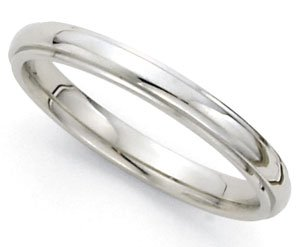 High-Polished Dome Step Wedding Band in 14k White Gold (3mm)