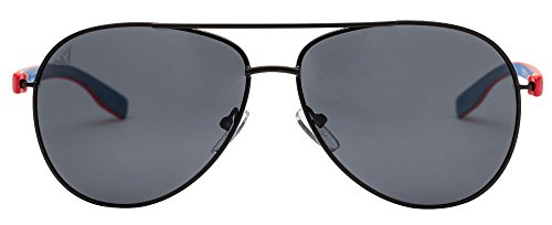 Vincent Chase VC 5192/P Black Red Blue Grey C7 Aviator Polarized Light-Weight Sunglasses (103622)
