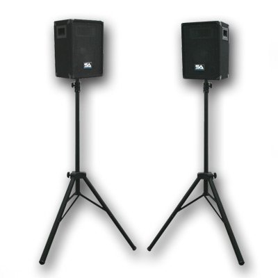 """Seismic Audio - Pair of 8"""" PA DJ SPEAKERS TWO TRIPOD SPEAKER STANDS PRO AUDIO - Band, Bar, Wedding, Church from Seismic Audio"""