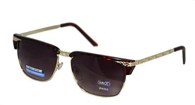 Vintage Hollywood Half Frame Classic Wayfarer Style Sunglasses - Black,49 millimeters,Red Stamped