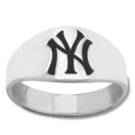 New York Yankees Logo Men's Enamel Band Ring (Size 10)