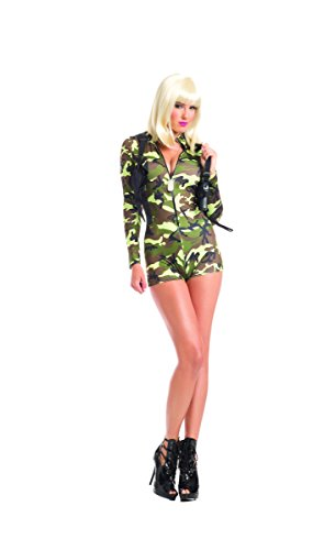 [Adult Women's 2 Piece Camouflage Army Babe Romper Halloween Party Costume] (Adult Army Brat Costumes)