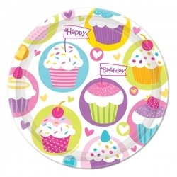 Amscan Sweet Hearts & Cupcakes Birthday Round Dessert Plates, Multicolored, 7""