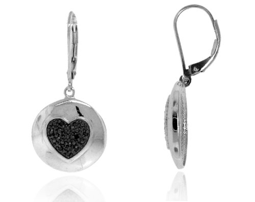 Sterling Silver 925 Two-tone Black Rhodium Micro-pave Genuine Diamond Accents 0.10cts (Color H-I, Clarity I2-I3) Heart Dangle Earrings