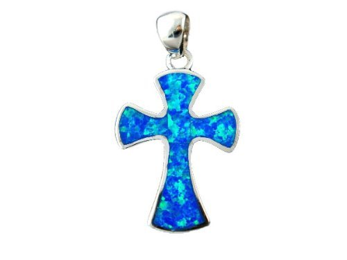Elegant Jewel 925 Sterling Silver Hawaiian Blue Opal Gothic Cross Charm Pendant