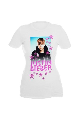 Justin Bieber White With Hot Pink Stars Girls T-Shirt Juniors Size: 2X (Xxl)
