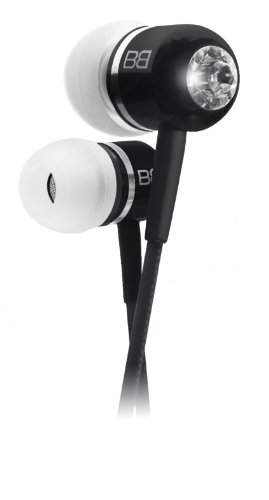 In Earphones Headphones With Mic Mp3 Controller + Swarovski Elements - Black Bassbuds