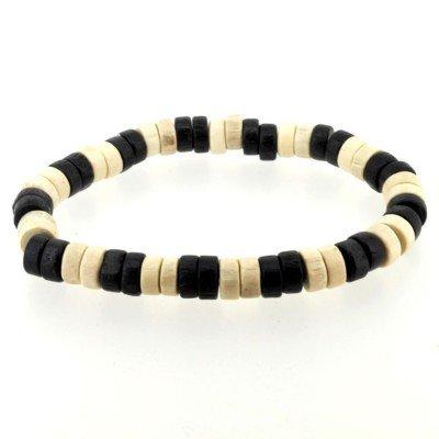 Urban Male Black & Cream Wooden Bead Mens Surfer Bracelet