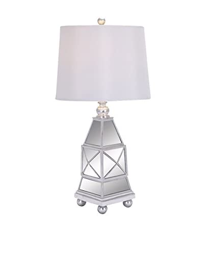 Polystone & Mirror Table Lamp, Silver/White