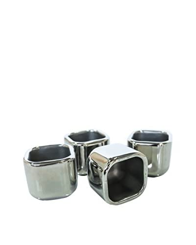 SPARQ Home Set of 4 Cubed 2-Oz. Stainless Steel Shot Glasses