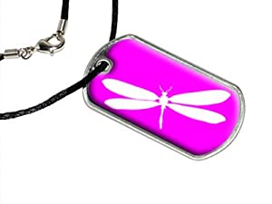 Dragonfly - White on Hot Pink - Dragonflies - Military Dog Tag Black Satin Cord Necklace by Graphics and More