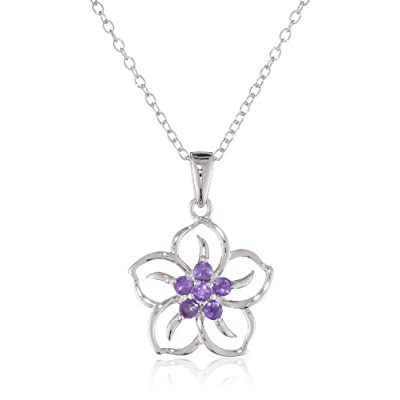 "Sterling Silver and Amethyst Flower Pendant Necklace, 18"": Jewelry"