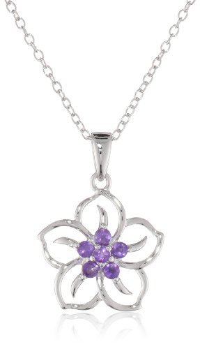 Sterling Silver and Amethyst Flower Pendant Necklace, 18