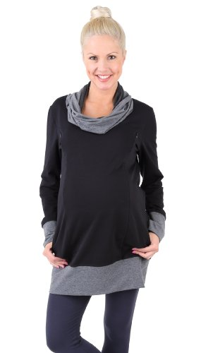 Be! Mama - 2in1 Umstandspullover, Sweatshirt, Still-Pulli, hochwertige Baumwolle, Modell: NELLA, schwarz, Größe XXL