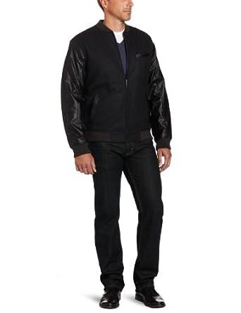 Perry Ellis Men's Wool Varisty Bomber Jacket, Charcoal, XX-Large