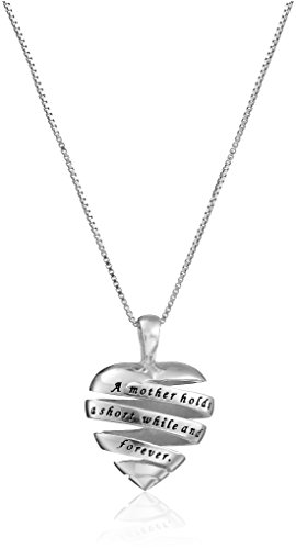 """Sterling Silver """"A Mother Holds Her Childs Hand For A Short While and Their Hearts Forever"""" Open Heart Pendant Necklace, 18"""""""