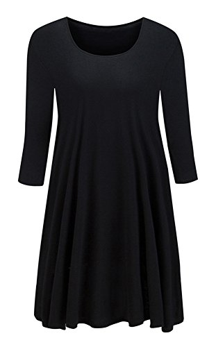 Taydey-Womens-3-4-Sleeve-Round-Neck-Tunic-Tops