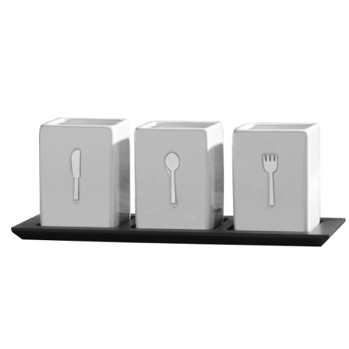 Towle Living 3-Piece Ceramic Caddy with Wood Tray (Ceramic Table Spoon compare prices)