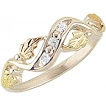 Hot Sale Beautiful! Sterling-silver Yellow-gold Black Hills Gold Women's CZ channel set Ring Size 7