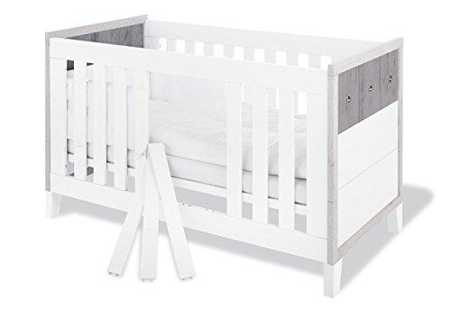 Pinolino-110021-Modernes-Kinderbett-mit-3-Schlupfsprossen-aus-MDF-Umbauseiten-Enthalten-140-X-70-cm-eiche-grauesche-grauuni-wei