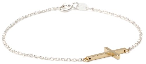 Mizuki Gold and Silver Side Cross Bracelet