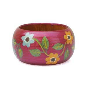 Bellow Wooden Bangle Red (SE-8709)