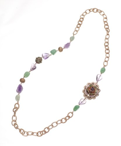 Amaro Jewelry Studio 'Spring Vibration' Collection 24K Rose Gold Plated Necklace Set with Rainbow Fluorite, Labradorite, Cape Amethyst, Amethyst, Amazonite and Swarovski Crystals
