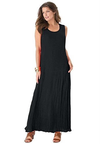 Roamans Women's Plus Size A Line Crinkle Maxi Dress Black,3X