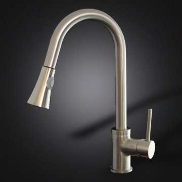 Faucetland 003002333 Kitchen Sink Faucet Pull Out Down Spray Single Handle Brushed Nickel