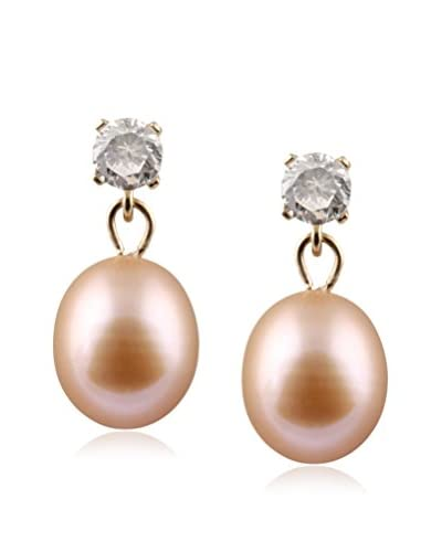 Splendid CZ & 7-7.5mm Pink Pearl Drop Earrings