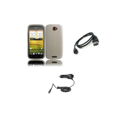 HTC One S (T Mobile) Premium Combo Pack   Clear Silicone Soft Skin Case Cover + Car Charger + Micro USB Data Cable + Zombeez Key Tag