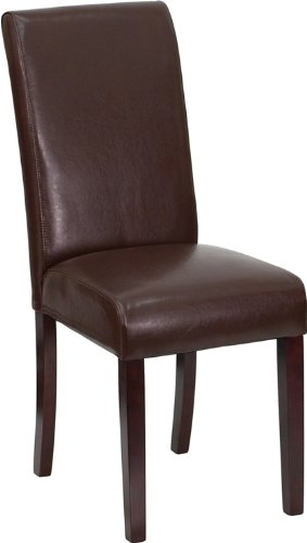 Dark Brown Leather Upholstered Parsons Chair (Chocolate Brown Chair compare prices)
