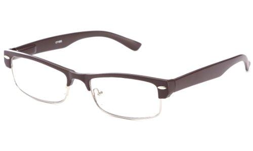 Slick Half Frame Slim Spring Temple Reading Glasses By Ig In Matte Brown