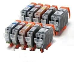 Premier Ink 10 Canon Compatible Cli526, Pgi525, Printing Ink Cartridges - New With Chip Installed No Fuss - Multipack Set Of 10 Canon Compatible Printer Ink Cartridges For Canon Pixma Ip4850, Ip4950, Mg5150, Mg5250, Mg5350,Mg6250, Mg6150, Mg6220, Mg8150, Mg8220, Mg8250, Mx715, Mx885, Ix6550 Printer Inks Pgi 525Bk, Cli 526Y, Cli 526M, Cli 526C, Cli 526Bk,) High Capacity Inks