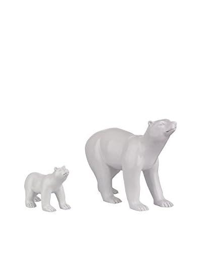 Artistic Set of 2 Polar Bears Sculptures, White