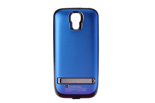 Usee 3200Mah Extended Battery Case Back Up Power Bank For Sumsung Galaxy S4 I9500 Back Up + Lightning Charging Port + Kick Stand + Slim Fit Slider Design + Full Body Protection + On/Off Switch Led Battery Level Indicator (Blue)