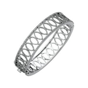 14K White Gold 5 1/4 Ct Tw Diamond Bangle Bracelet