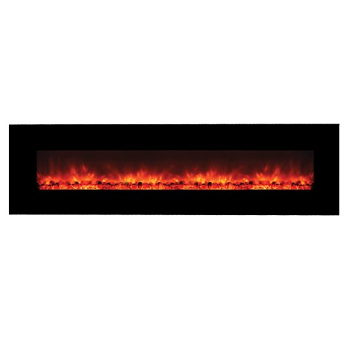 Cheapest Prices! Yosemite Home Decor DF-EFP1313 Contemporary Wide Glass Electric Fireplace, Black