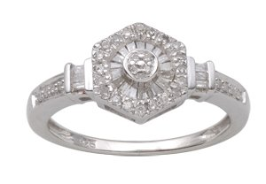 Sterling Silver 0.27cttw Natural Diamond Fashion Promise Ring