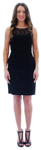 Jessica Simpson Women's Sleeveless Peplum Dress, Black, 4