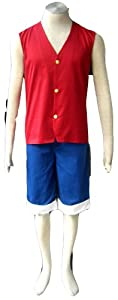 One Piece Anime Monkey D Luffy Cosplay Costume Suit Red 1st Version in Size XXL