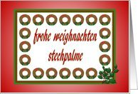 frohe weighnachten stechpalme-German Christmas-Wreath-Holly-Evergreen Card by Greeting Card Universe