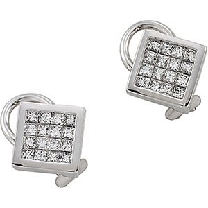 Genuine IceCarats Designer Jewelry Gift 14K White Gold Diamond Earring. Pair 1 Ct Tw Diamond Earrings In 14K White Gold