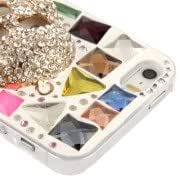 3D Skull Basket Pattern Colorful Crystal Diamond Encrusted Plastic Case for iPhone 5 5S