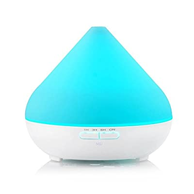 300ml Aroma Essential Oil Diffuser,Ultrasonic Cool Mist Whisper-Quiet Humidifier with 4 Timer Settings and Auto Shut Off, 7 Color Changing LED Lights for Home and Office