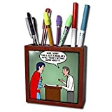 Rich Diesslins Funny Out to Lunch Cartoons - Regular 8 Hotel vs. Super 8 Hotel - Tile Pen Holders-5 inch tile pen holder