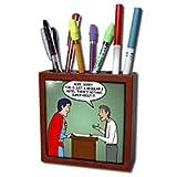 Rich Diesslins Funny Out to Lunch Cartoons - Regular 8 Hotel vs. Super 8 Hotel - Tile Pen Holders-5 inch tile pen holder